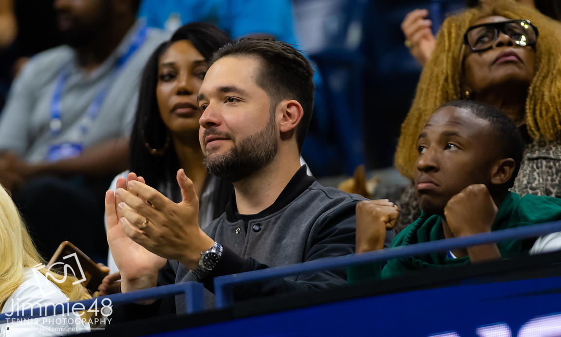 Alexis Ohanian watches wife Serena Williams during her first round match at the 2019 US Open Grand Slam tennis tournament