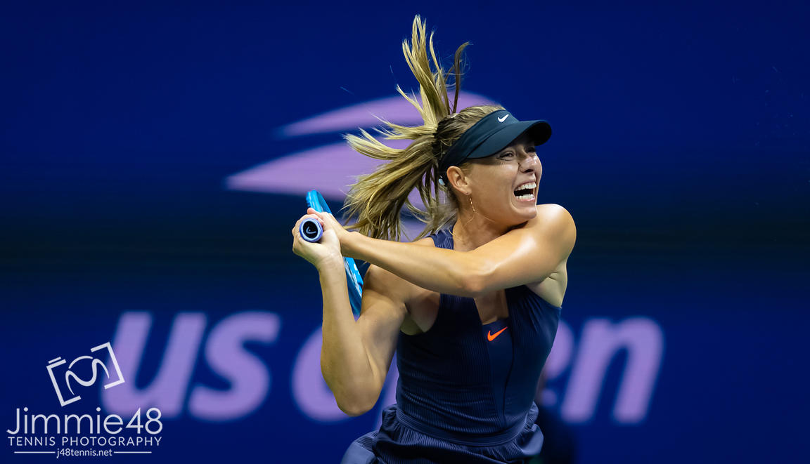 Maria Sharapova of Russia in action during her first round match at the 2019 US Open Grand Slam tennis tournament