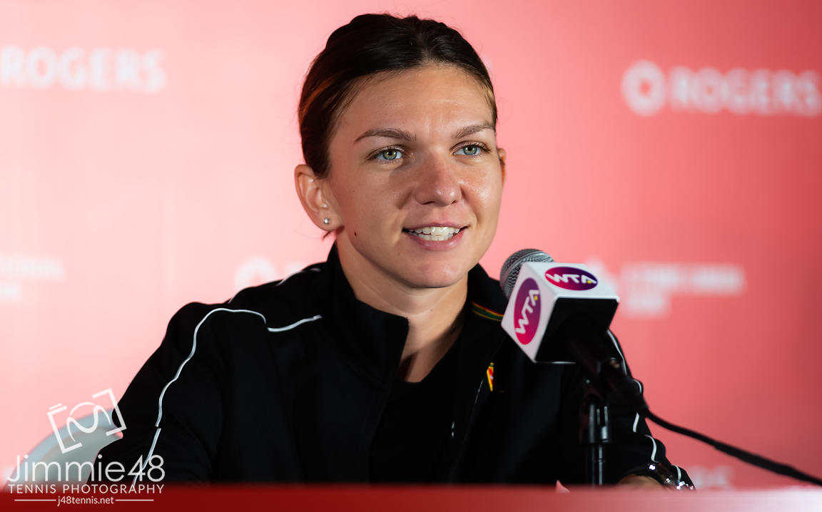 Simona Halep of Romania talks to the media after winning her third-round match at the 2019 Rogers Cup WTA Premier Tennis 5 Tournament