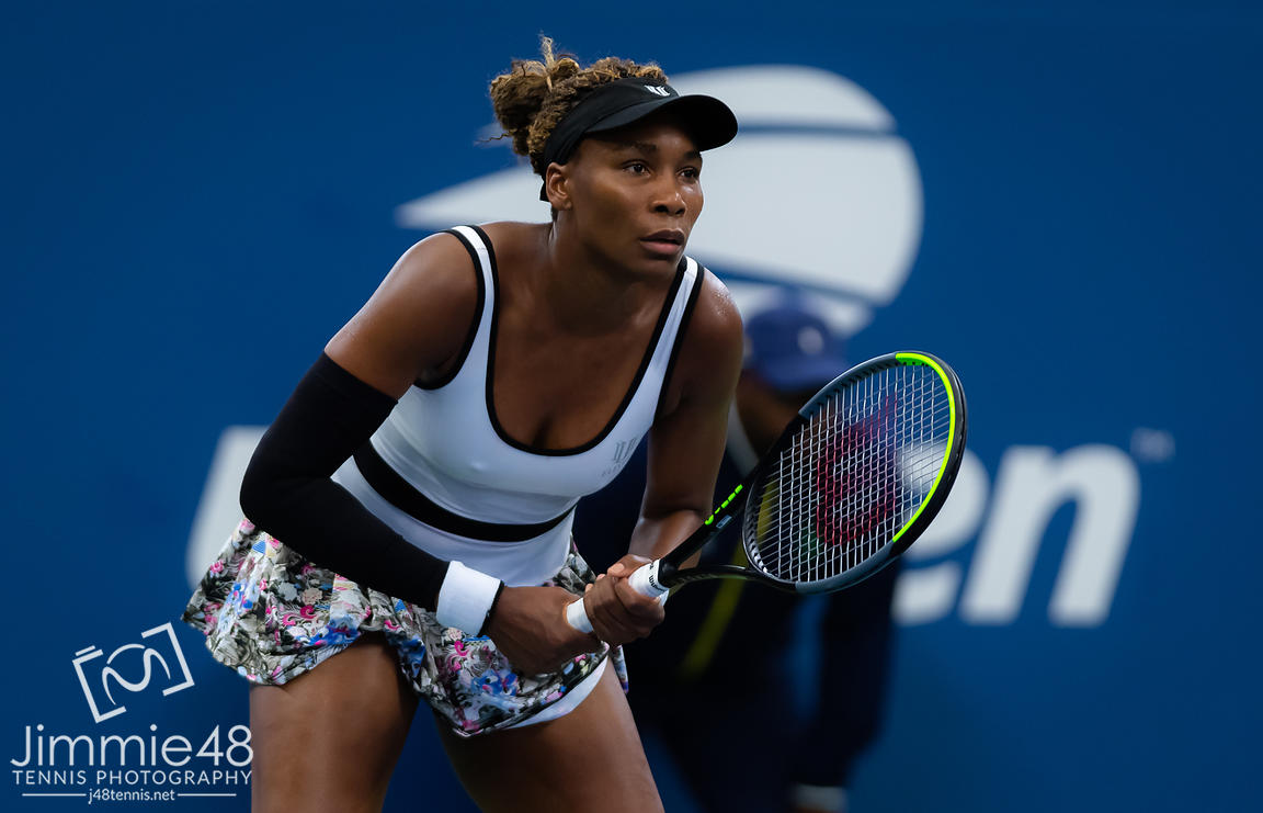Venus Williams of the United States in action during her second-round match at the 2019 US Open Grand Slam tennis tournament