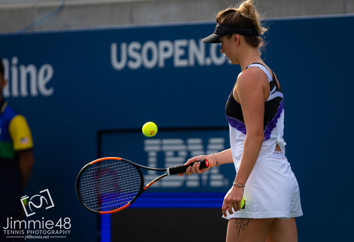 Elina Svitolina of the Ukraine in action during the first round of the 2019 US Open Grand Slam tennis tournament