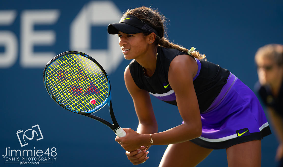 Whitney Osuigwe of the United States in action during the first round of the 2019 US Open Grand Slam tennis tournament