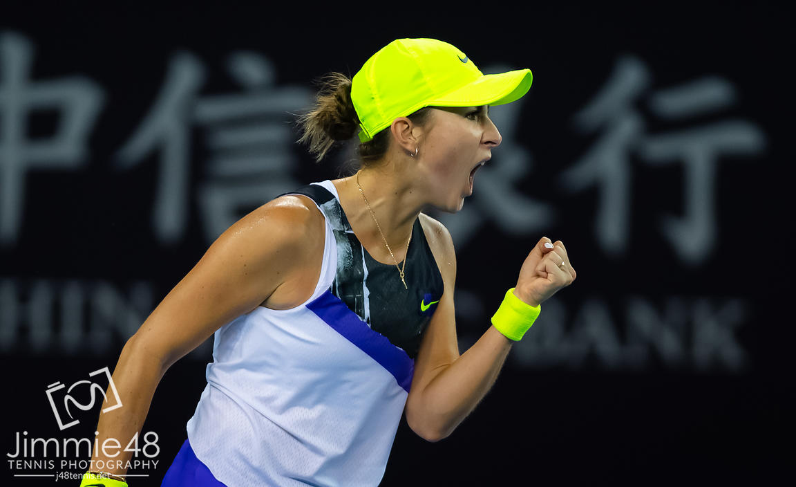 Belinda Bencic of Switzerland in action during her second-round match at the 2019 China Open Premier Mandatory tennis tournament