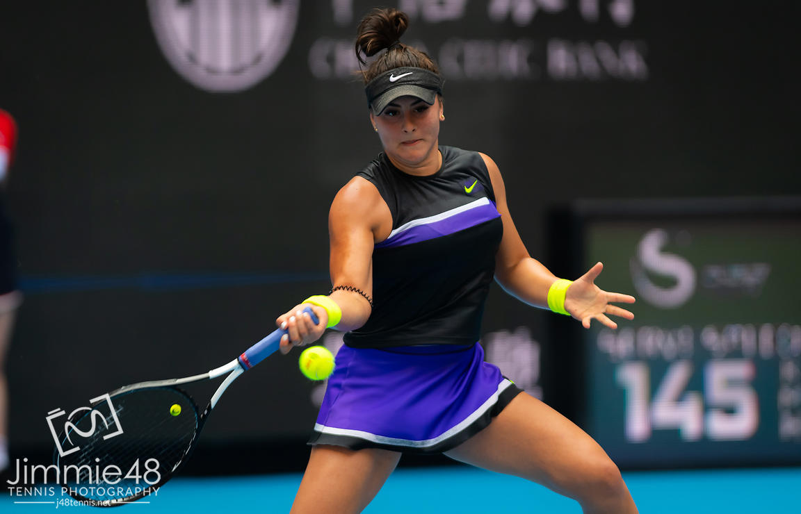 Bianca Andreescu of Canada in action during her first-round match at the 2019 China Open Premier Mandatory tennis tournament