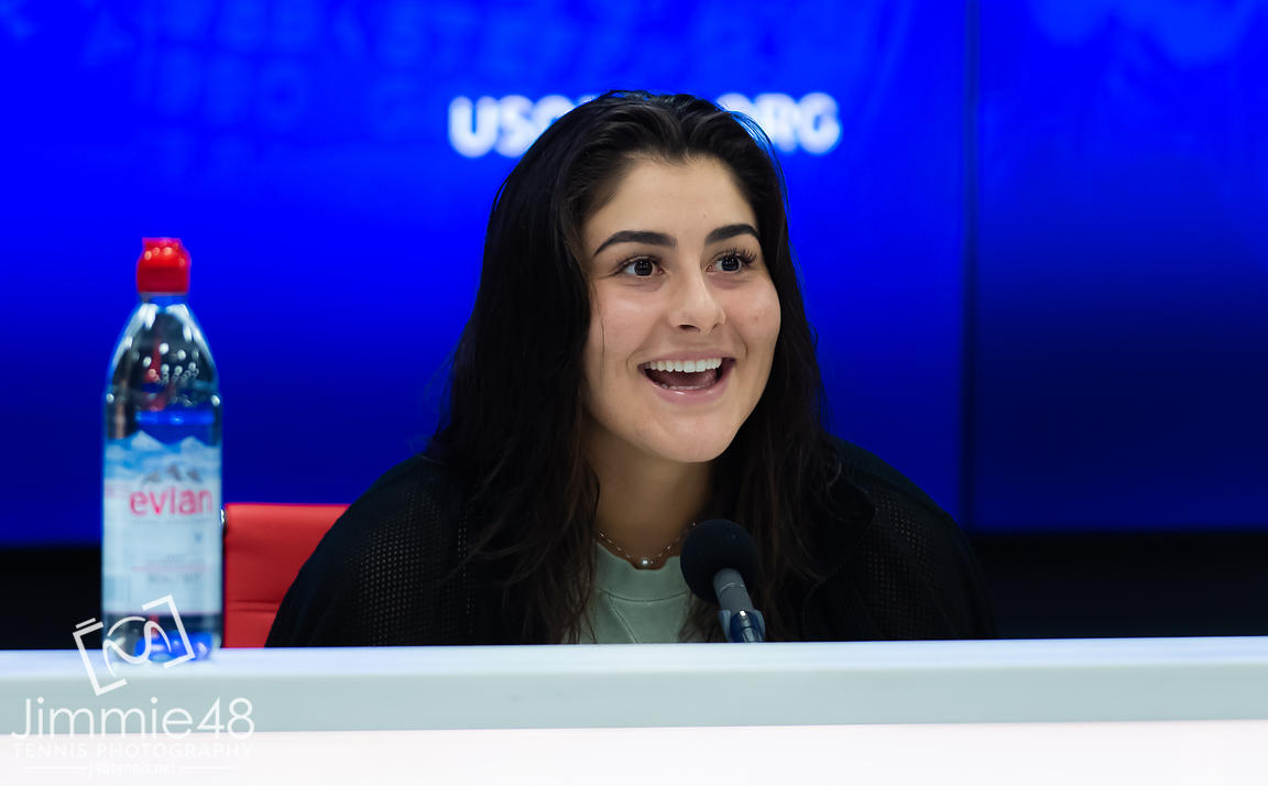 Bianca Andreescu of Canada talks to the media after the final of the 2019 US Open Grand Slam tennis tournament