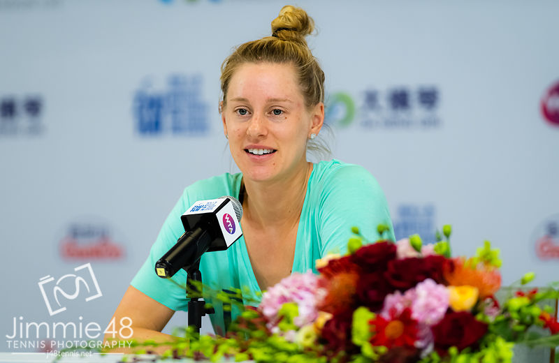 Alison Riske of the United States during All Access Hour at the 2019 WTA Elite Trophy tennis tournament