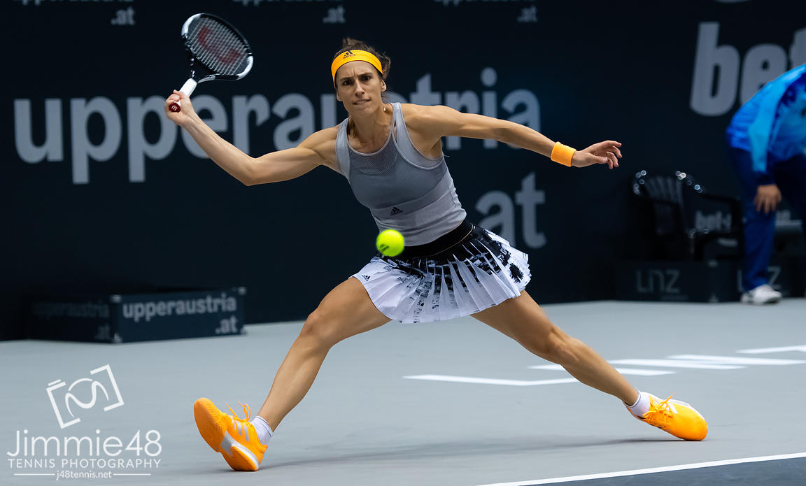 Andrea Petkovic of Germany in action during her second-round match at the 2019 Upper Austria Ladies Linz WTA International tennis tournament