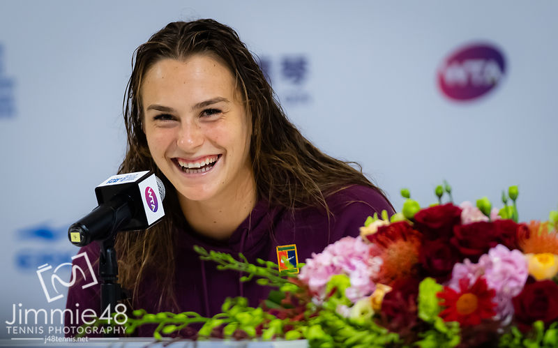 Aryna Sabalenka of Belarus during All Access Hour at the 2019 WTA Elite Trophy tennis tournament