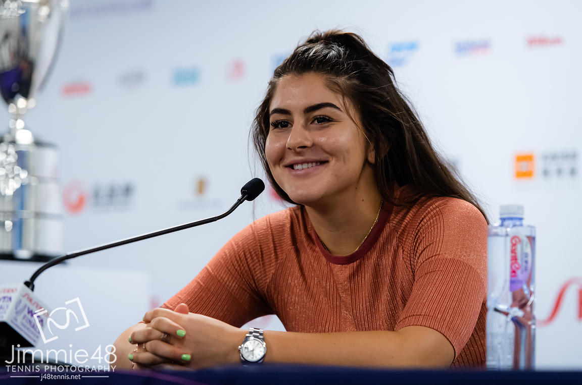 Bianca Andreescu of Canada talks to the media during All Access Hour ahead of the 2019 WTA Finals tennis tournament