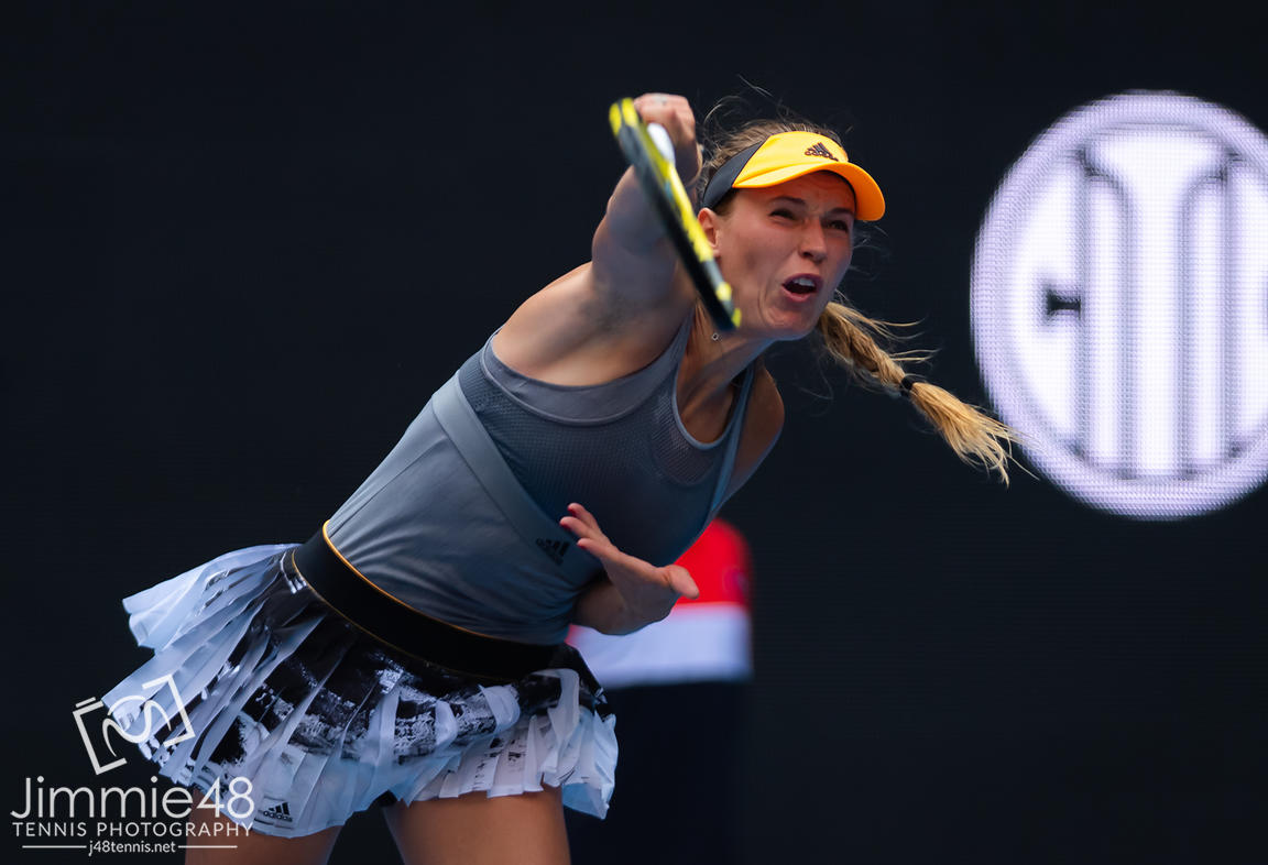Caroline Wozniacki of Denmark in action during her third-round match at the 2019 China Open Premier Mandatory tennis tournament