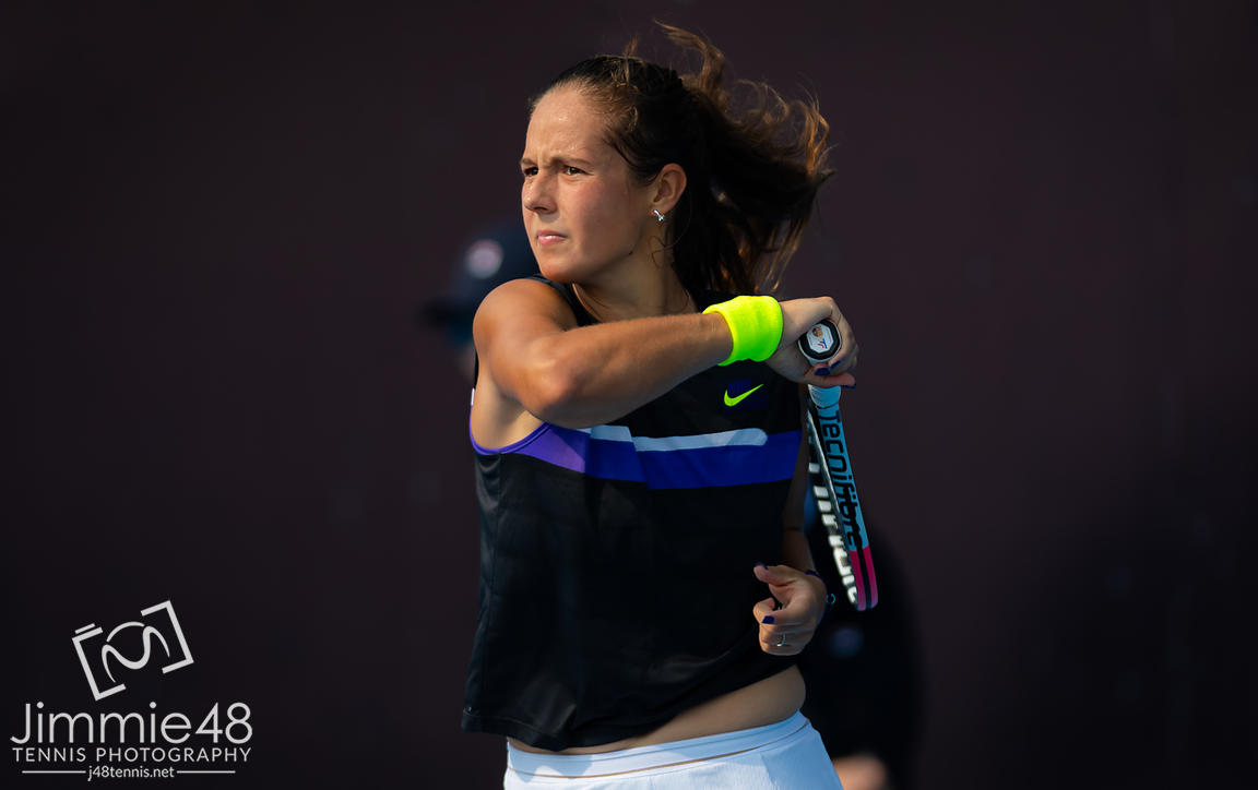 Daria Kasatkina of Russia in action during her second-round match at the 2019 China Open Premier Mandatory tennis tournament