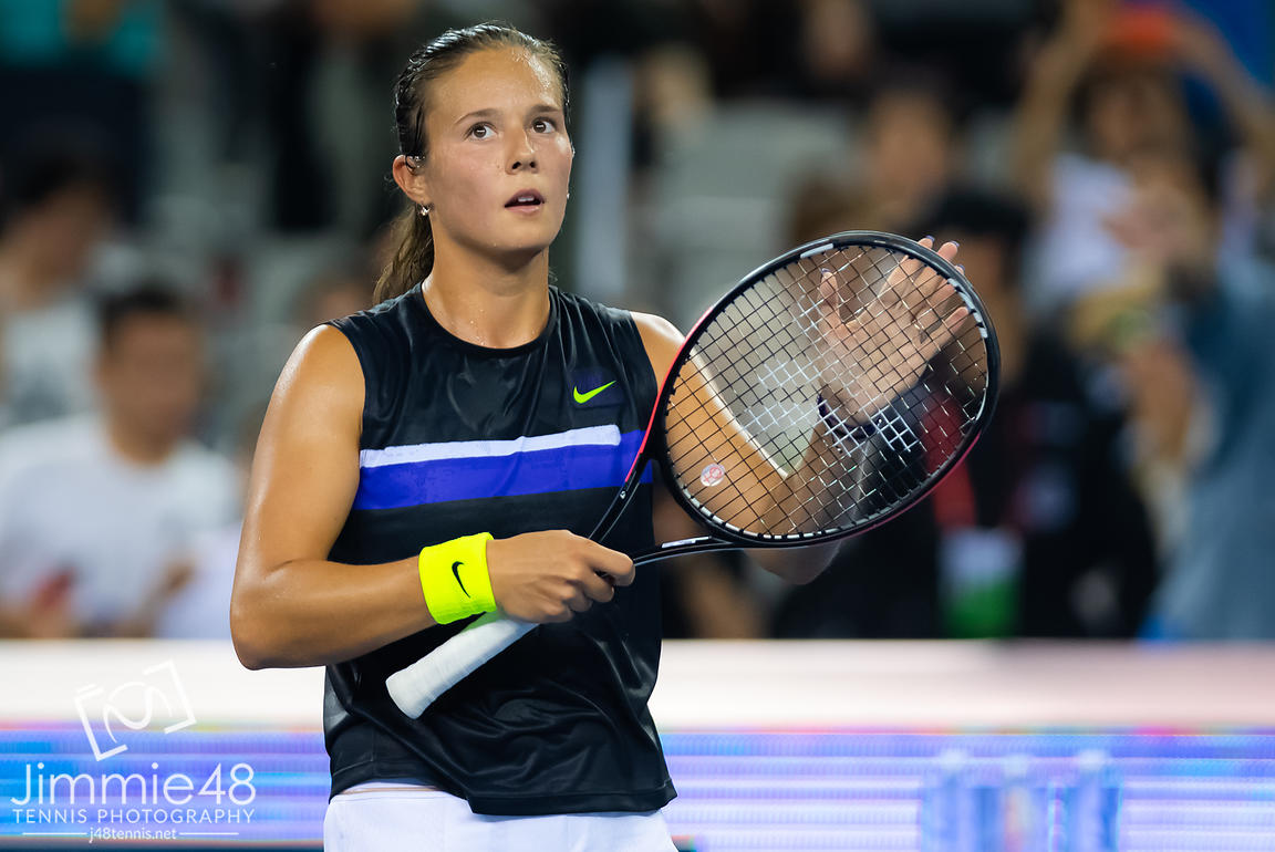 Daria Kasatkina of Russia in action during her third-round match at the 2019 China Open Premier Mandatory tennis tournament
