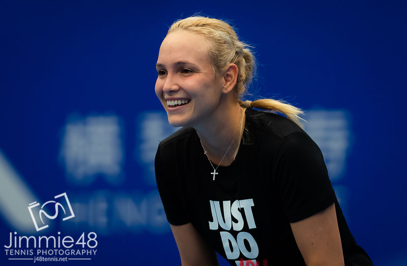 Donna Vekic of Croatia during practice ahead of the 2019 WTA Elite Trophy tennis tournament
