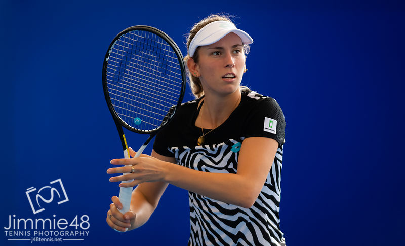 Elise Mertens of Belgium during practice ahead of the 2019 WTA Elite Trophy tennis tournament