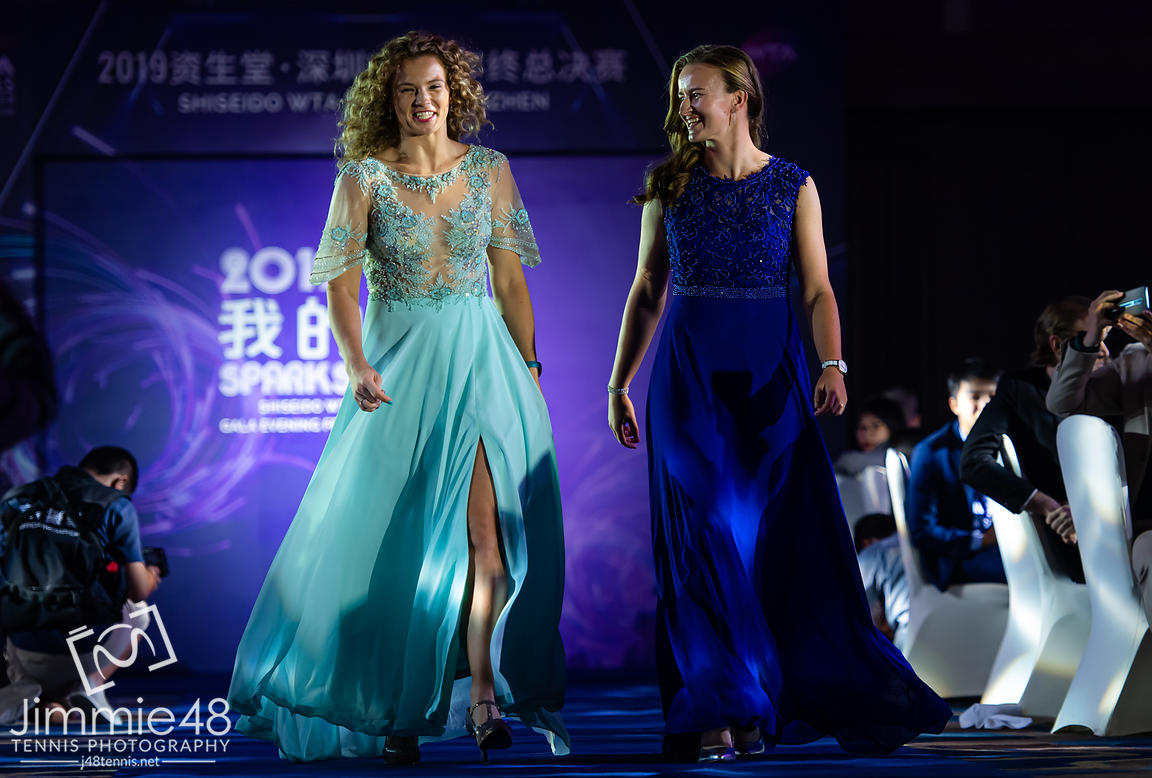 Katerina Siniakova & Barbora Krejcikova of the Czech Republic during the draw gala of the 2019 WTA Finals tennis tournament