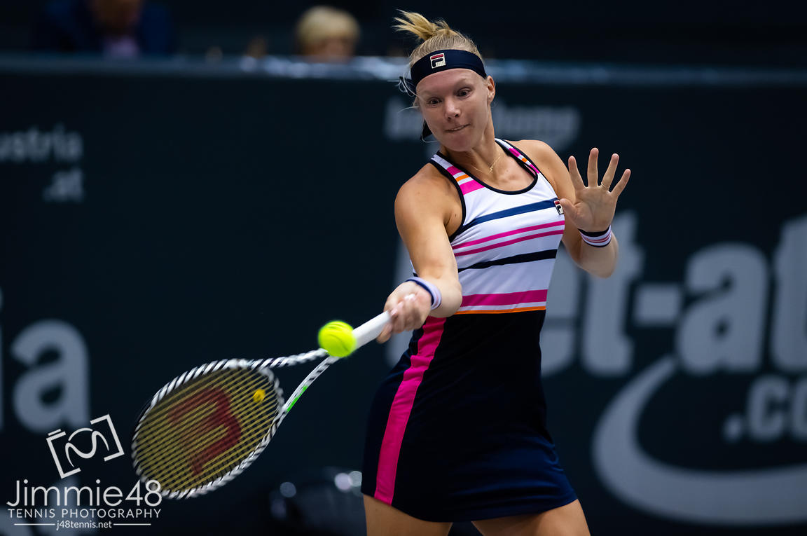Kiki Bertens of the Netherlands in action during her first-round match at the 2019 Upper Austria Ladies Linz WTA International tennis tournament