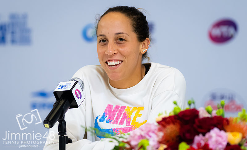 Madison Keys of the United States during All Access Hour at the 2019 WTA Elite Trophy tennis tournament