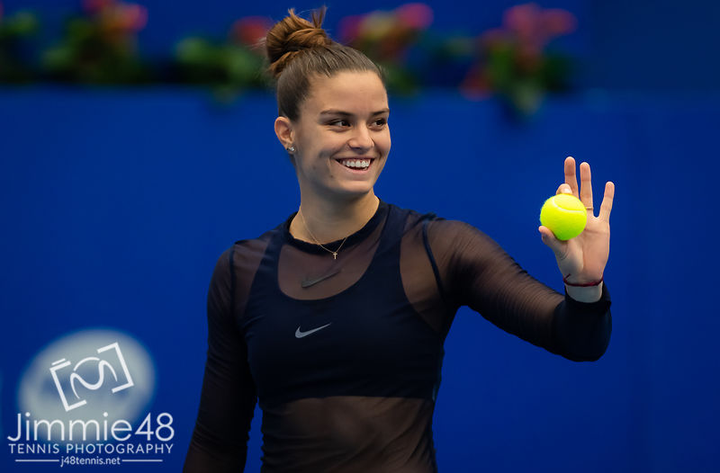 Maria Sakkari of Greece during practice ahead of the 2019 WTA Elite Trophy tennis tournament