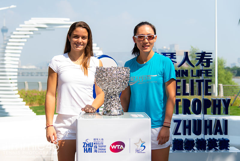 Maria Sakkari of Greece & Saisai Zheng of China at the draw ceremony of the 2019 WTA Elite Trophy tennis tournament
