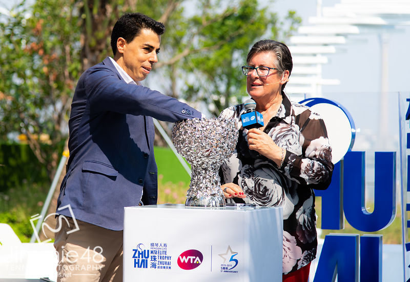 Pam Whytcross at the draw ceremony of the 2019 WTA Elite Trophy tennis tournament