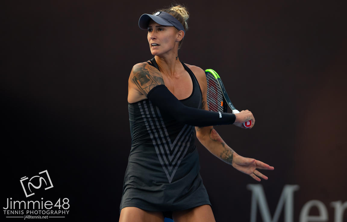 Polona Hercog of Slovenia in action during her second-round match at the 2019 China Open Premier Mandatory tennis tournament