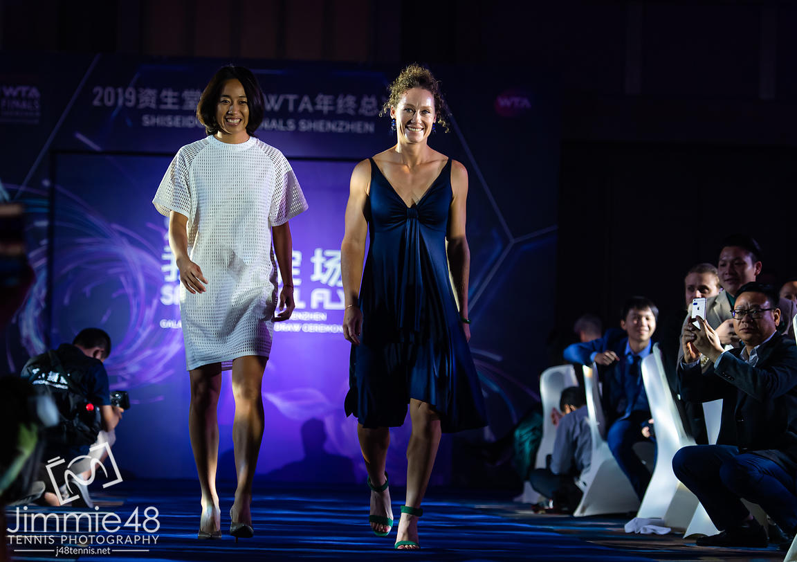 Shuai Zhang of China & Samantha Stosur of Australia during the draw gala of the 2019 WTA Finals tennis tournament