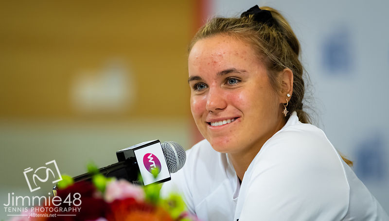 Sofia Kenin of the United States during All Access Hour at the 2019 WTA Elite Trophy tennis tournament