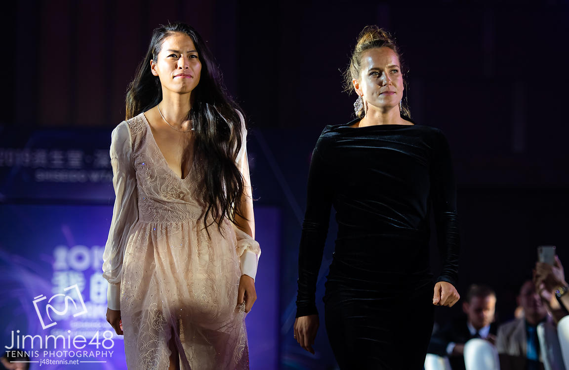 Su-Wei Hsieh of Chinese Taipeh & Barbora Strycova of the Czech Republic during the draw gala of the 2019 WTA Finals tennis tournament