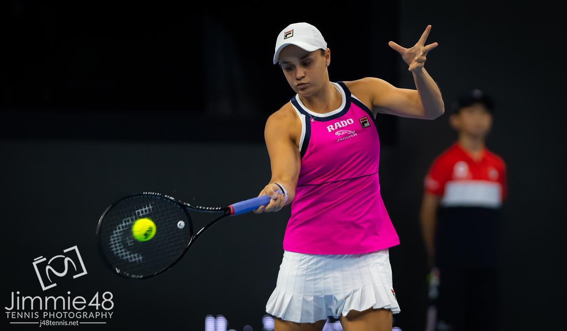 Ashleigh Barty of Australia in action during the third round at the 2019 China Open Premier Mandatory tennis tournament