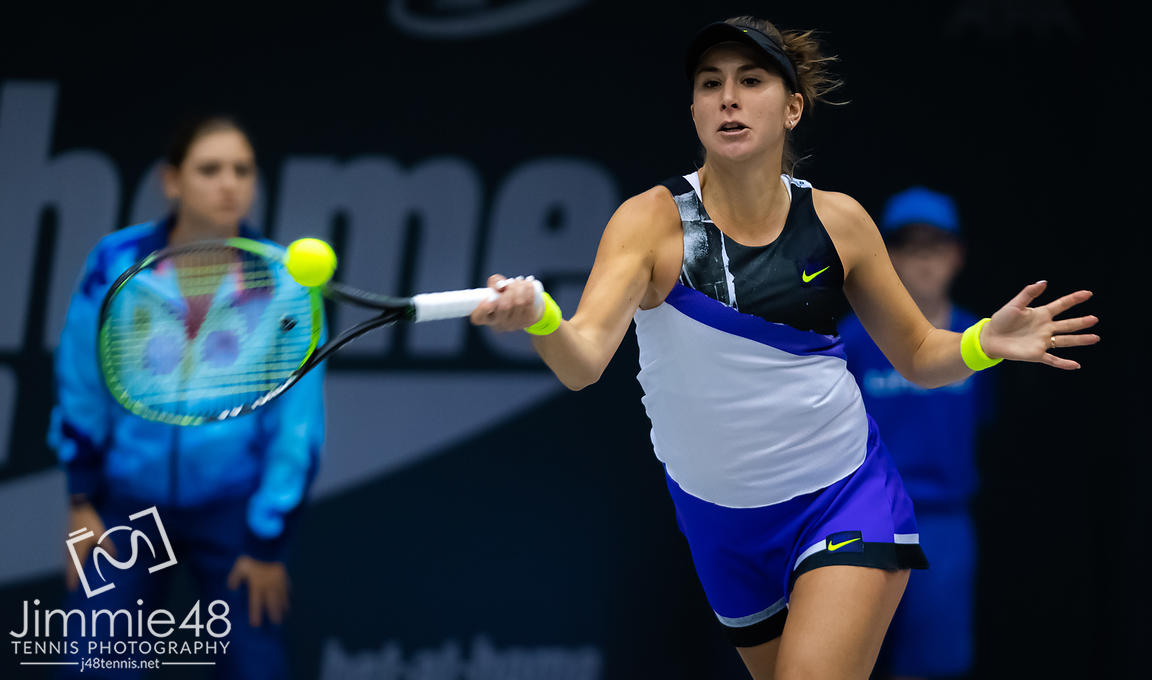 Belinda Bencic of Switzerland in action during her first-round match at the 2019 Upper Austria Ladies Linz WTA International tennis tournament