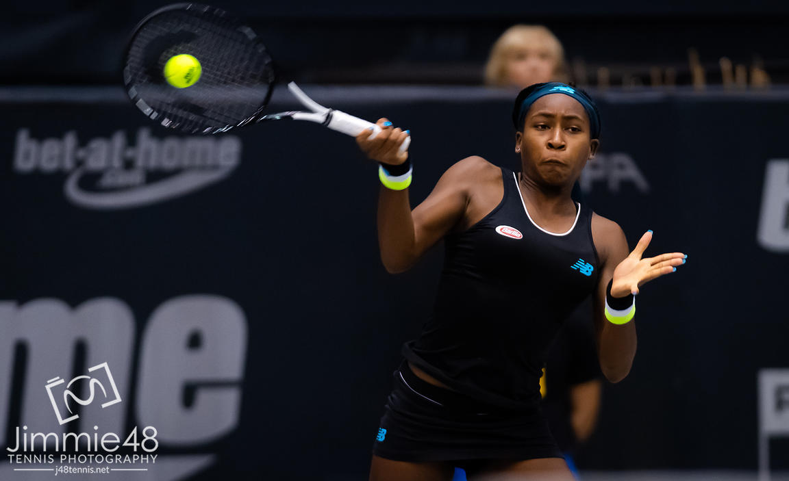 Cori Gauff of the United States in action during her second-round match at the 2019 Upper Austria Ladies Linz WTA International tennis tournament