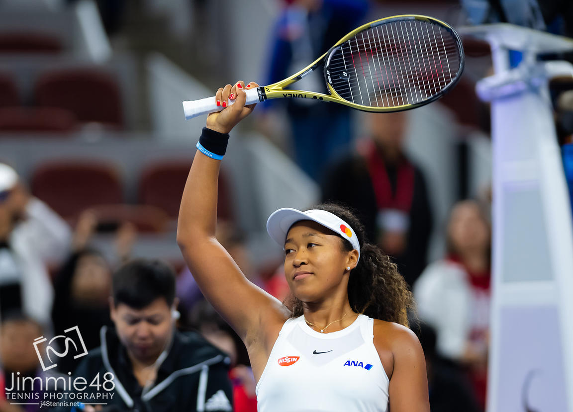Naomi Osaka of Japan after winning her quarter-final match at the 2019 China Open Premier Mandatory tennis tournament