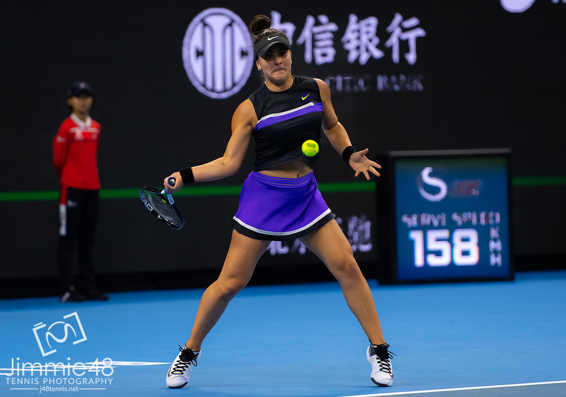 Bianca Andreescu of Canada in action during her quarter-final match at the 2019 China Open Premier Mandatory tennis tournament