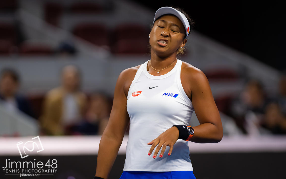 Naomi Osaka of Japan during her semi-final match at the 2019 China Open Premier Mandatory tennis tournament