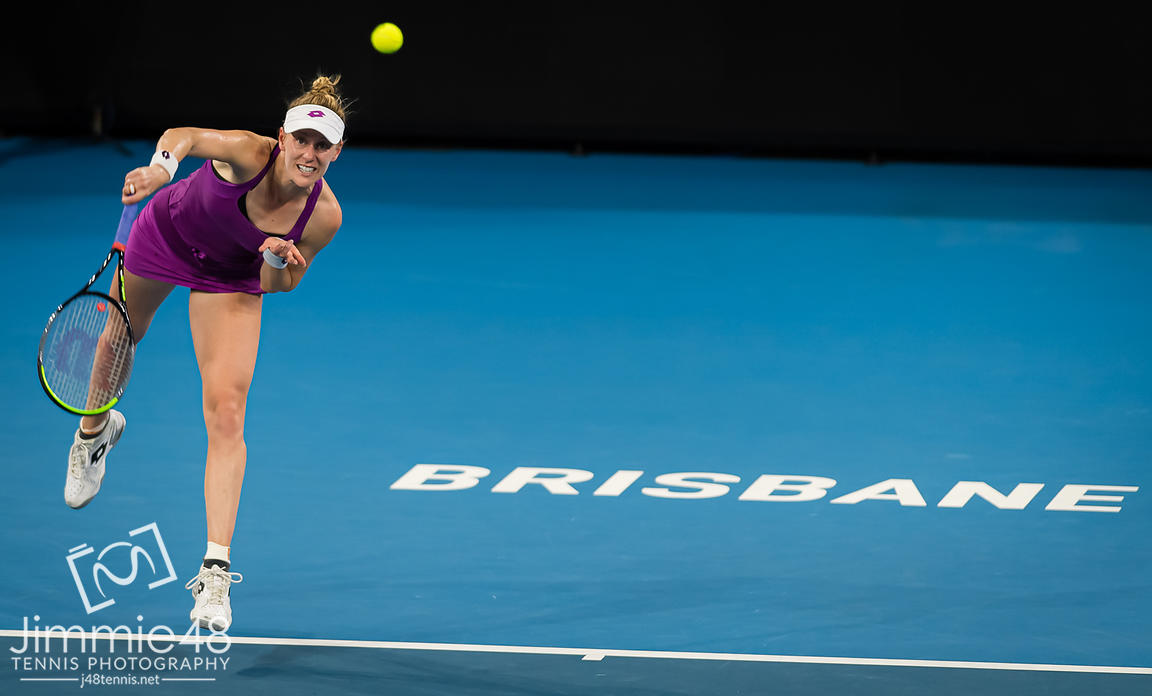 Alison Riske of the United States in action during her quarter-final match at the 2020 Brisbane International WTA Premier tennis tournament
