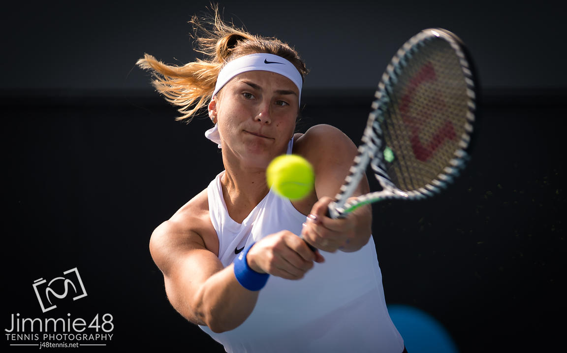 Aryna Sabalenka of Belarus in action during the second round at the 2020 Adelaide International WTA Premier tennis tournament