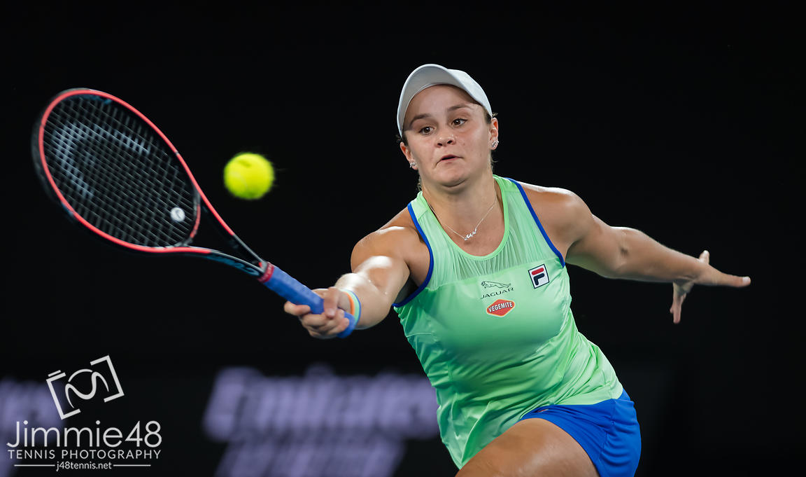 Ashleigh Barty of Australia in action during her first round match at the 2020 Australian Open Grand Slam tennis tournament