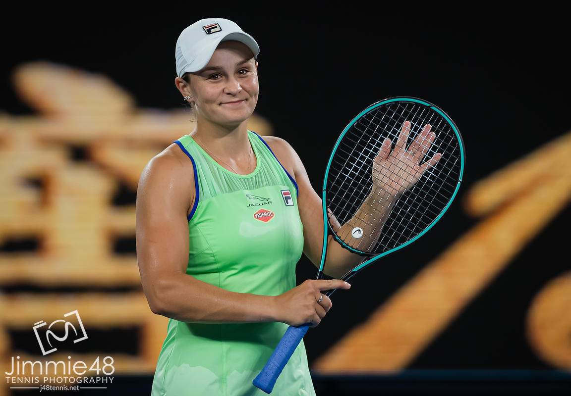Ashleigh Barty of Australia after winning her first round match at the 2020 Australian Open Grand Slam tennis tournament