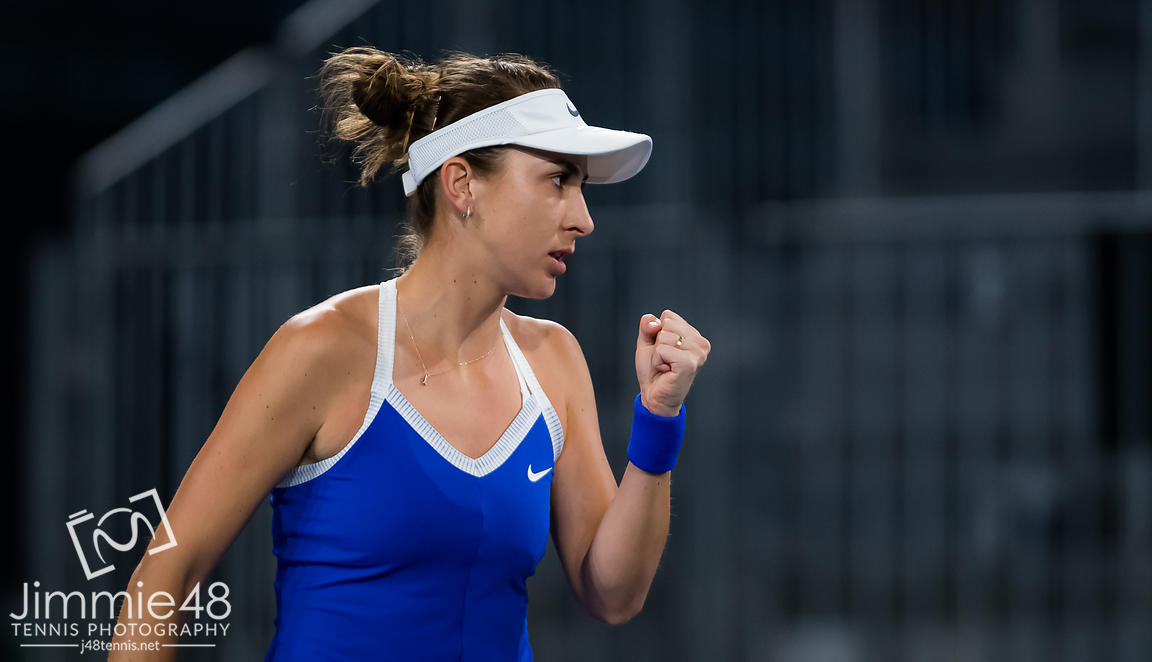 Belinda Bencic of Switzerland in action during the second round at the 2020 Adelaide International WTA Premier tennis tournament