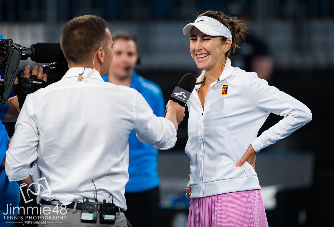 Belinda Bencic of Switzerland after winning her second round match at the 2020 Adelaide International WTA Premier tennis tournament