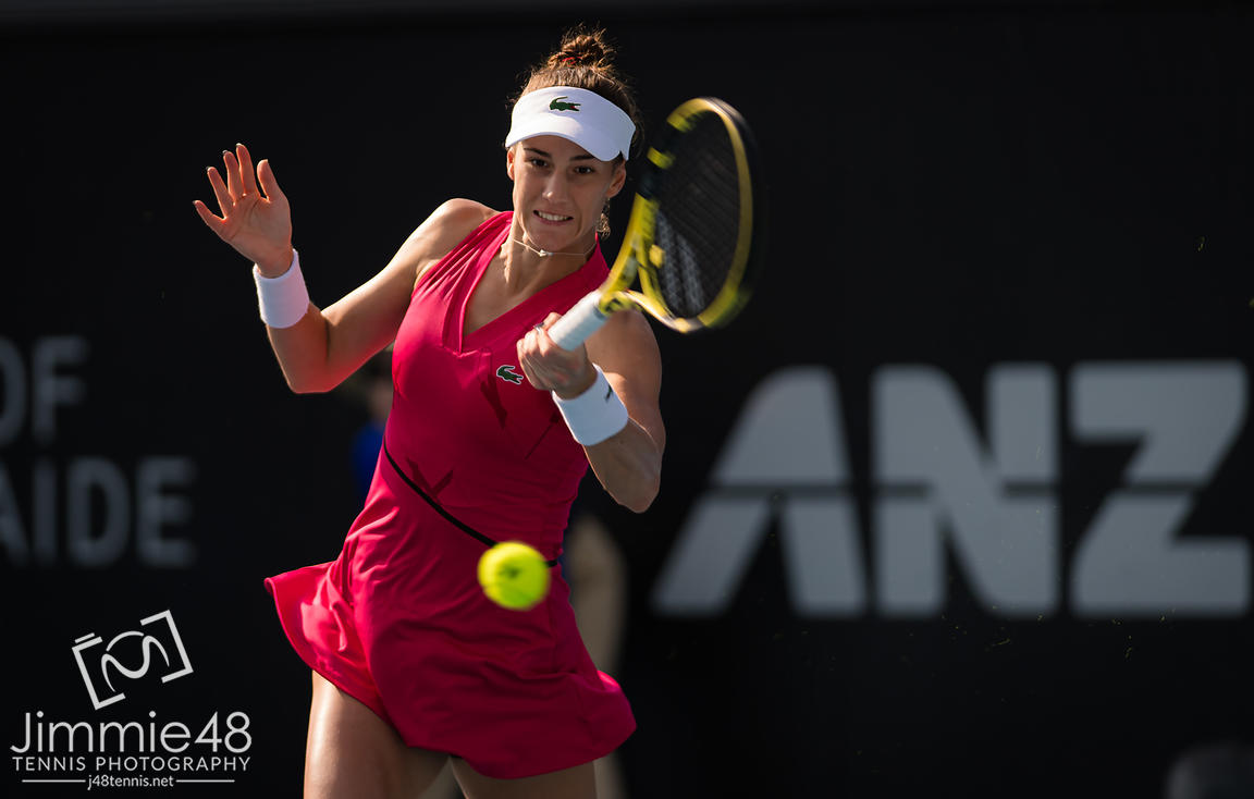 Bernarda Pera of the United States in action during the second round at the 2020 Adelaide International WTA Premier tennis tournament