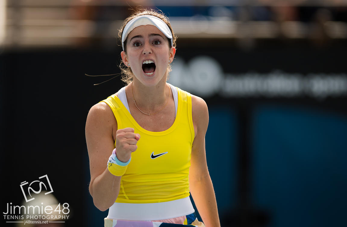 Catherine Bellis of the United States in action during her second round match at the 2020 Australian Open Grand Slam tennis tournament