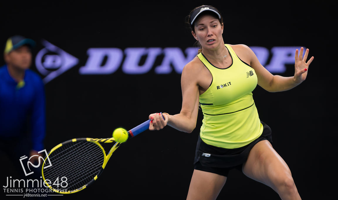 Danielle Collins of the United States in action during her quarter-final match at the 2020 Brisbane International WTA Premier tennis tournament