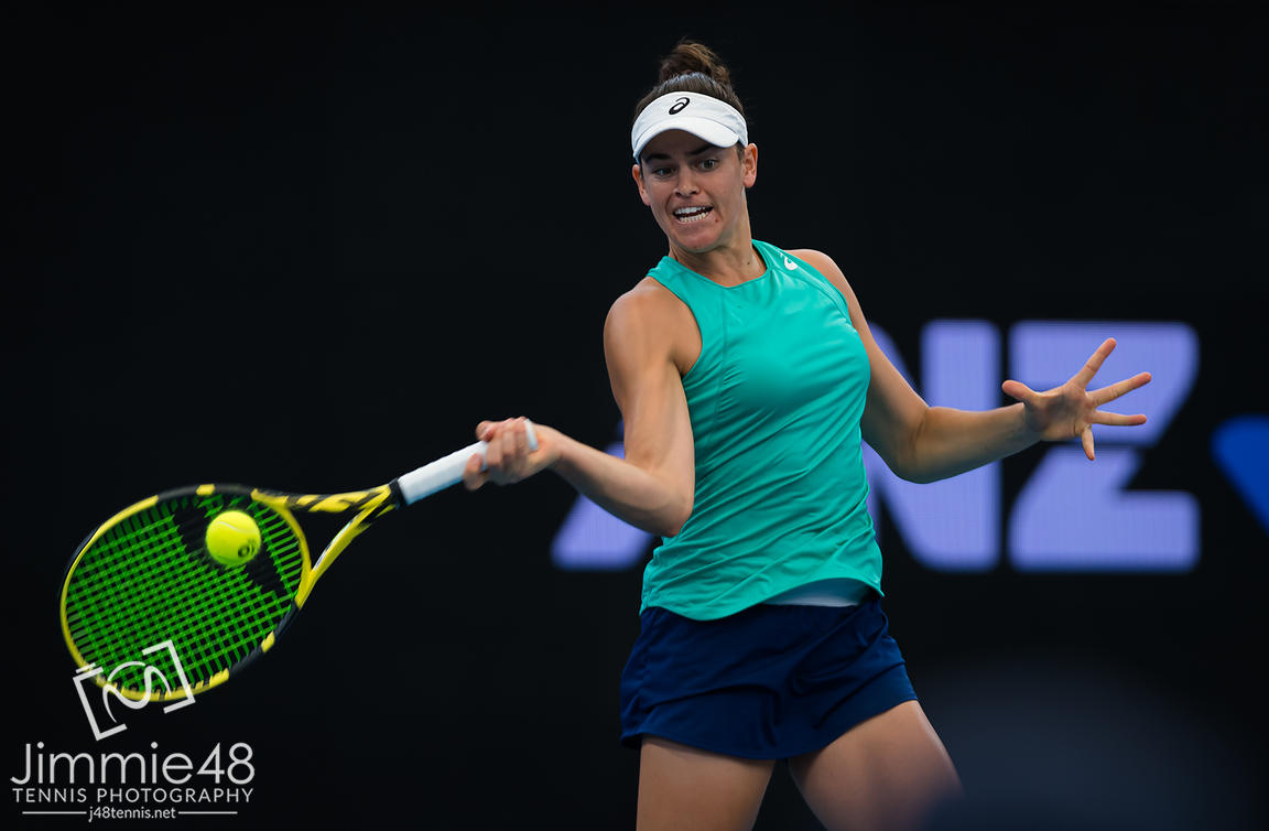 Jennifer Brady of the United States in action during the second round of the 2020 Brisbane International WTA Premier tennis tournament