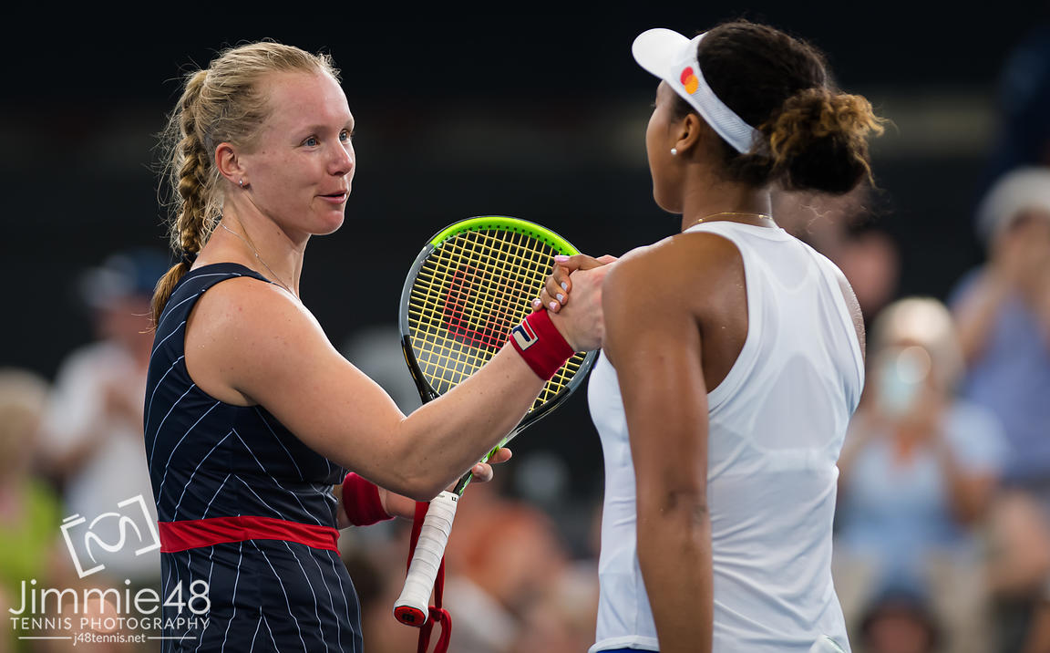 Kiki Bertens of the Netherlands & Naomi Osaka of Japan at the net after their quarter-final match at the 2020 Brisbane International WTA Premier tennis tournament