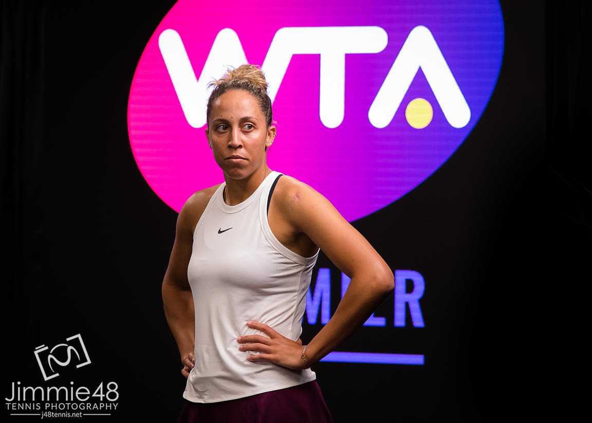 Madison Keys of the United States before her quarter-final match at the 2020 Brisbane International WTA Premier tennis tournament