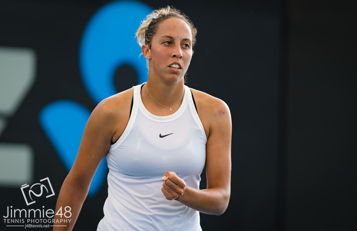 Madison Keys of the United States in action during her second-round match at the 2020 Brisbane International WTA Premier tennis tournament