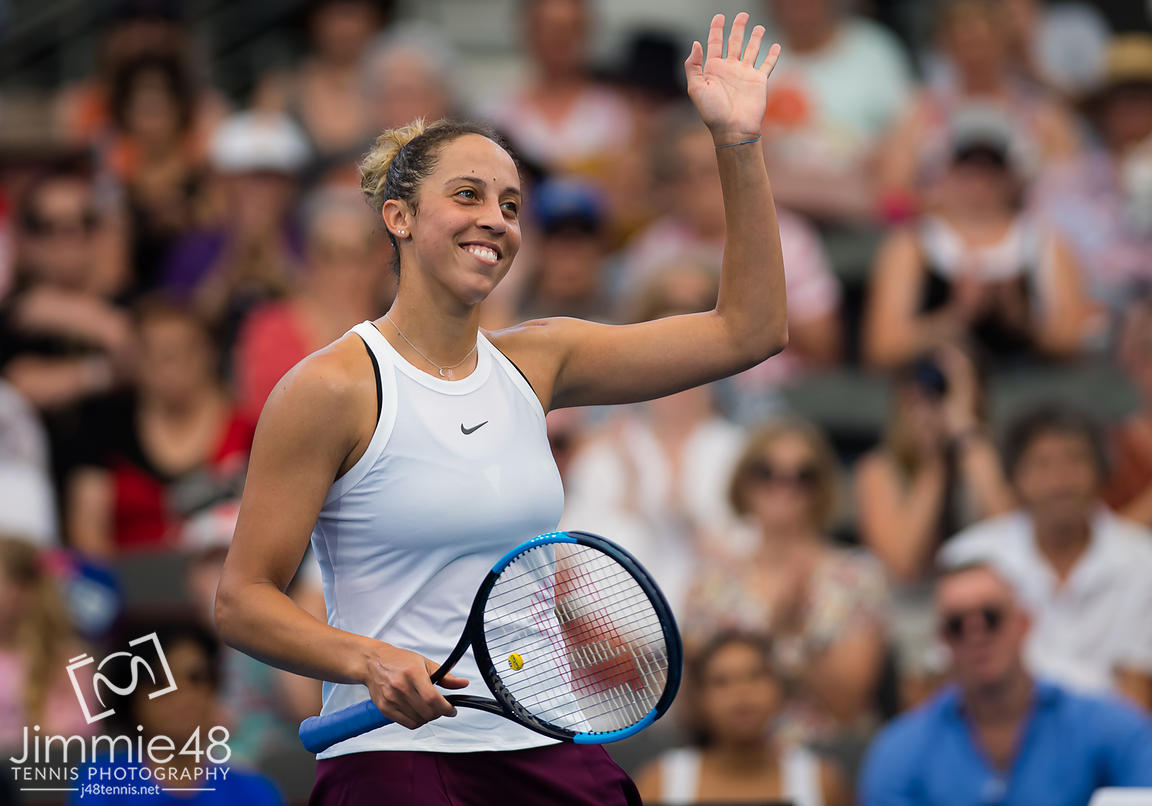 Madison Keys of the United States after winning her quarter-final match at the 2020 Brisbane International WTA Premier tennis tournament