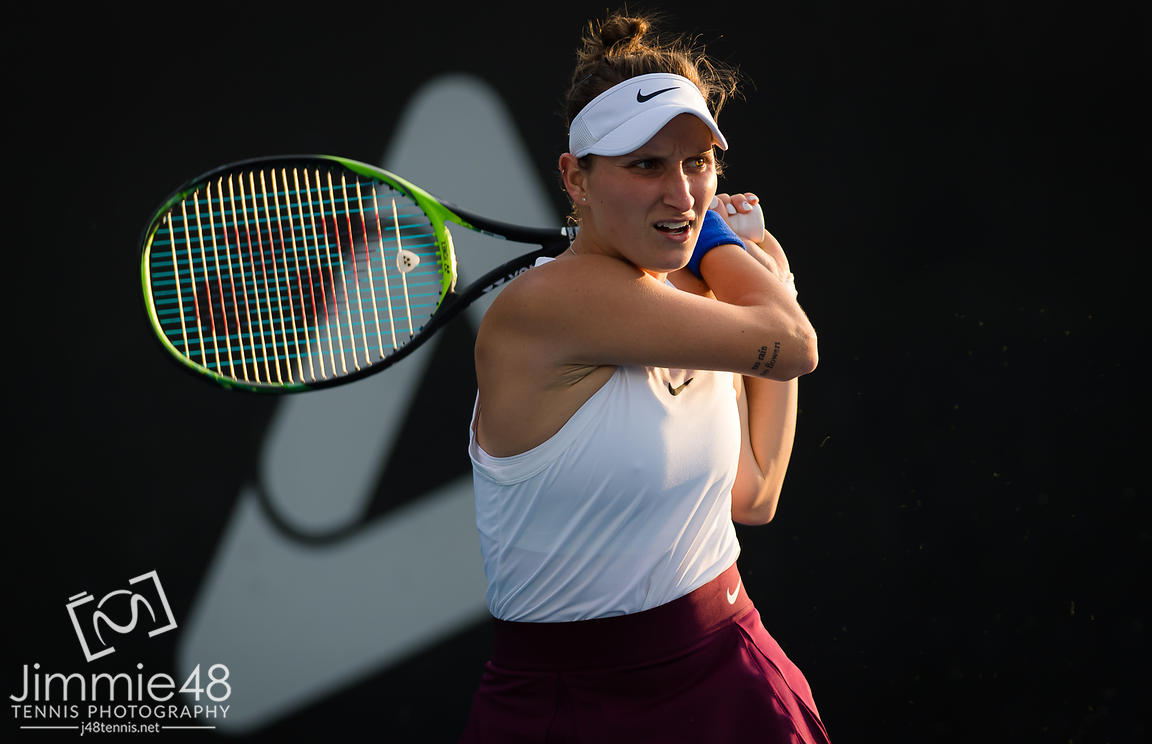 Marketa Vondrousova of the Czech Republic in action during the second round at the 2020 Adelaide International WTA Premier tennis tournament