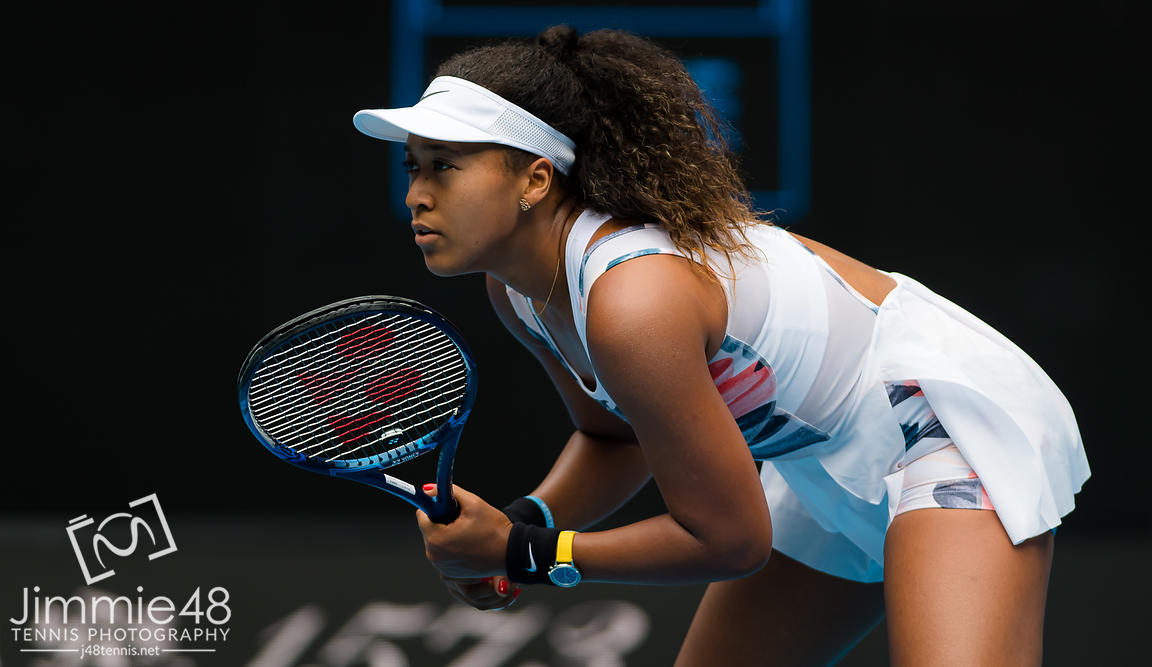 Naomi Osaka of Japan in action during her second round match at the 2020 Australian Open Grand Slam tennis tournament